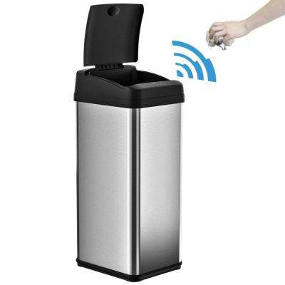 Stainless Steel Square Extra Wide Lid Opening Motion Sensing Touchless Trash Can