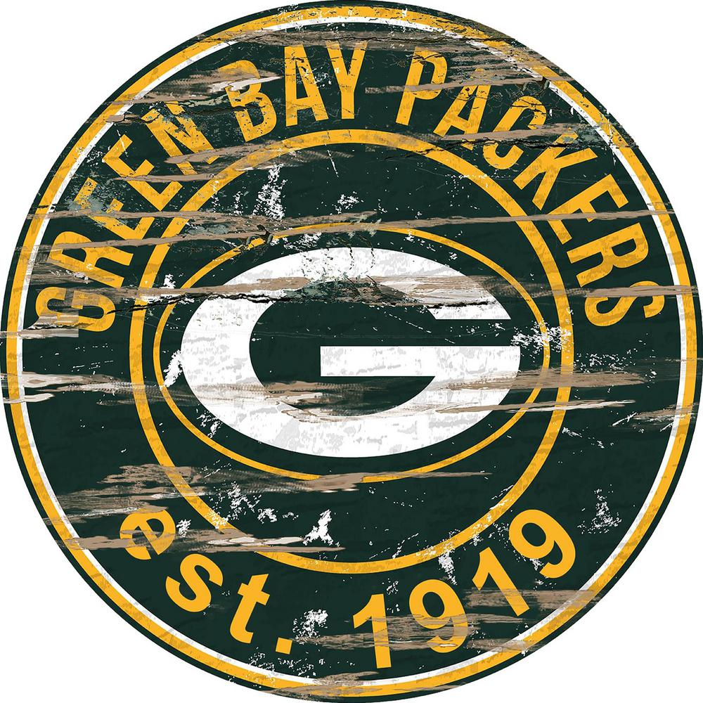 "24"" NFL Green Bay Packers Round Distressed Sign"
