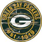 """24"""" NFL Green Bay Packers Round Distressed Sign"""