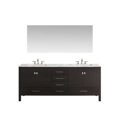 Aberdeen 84.5 in. W x 22 in. D x 36 in. H Vanity in Espresso with Carrara Marble Vanity Top in White with White Basin