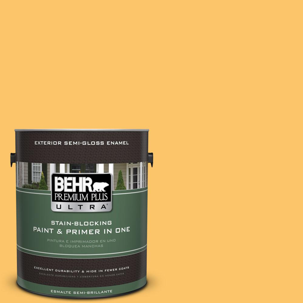 BEHR Premium Plus Ultra 1-gal. #PPU6-6 Honey Locust Semi-Gloss Enamel Exterior Paint