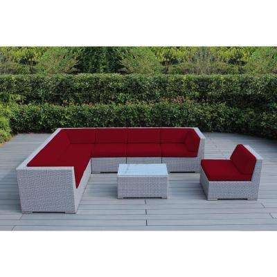 Ohana Gray 8-Piece Wicker Patio Seating Set with Spuncrylic Red Cushions