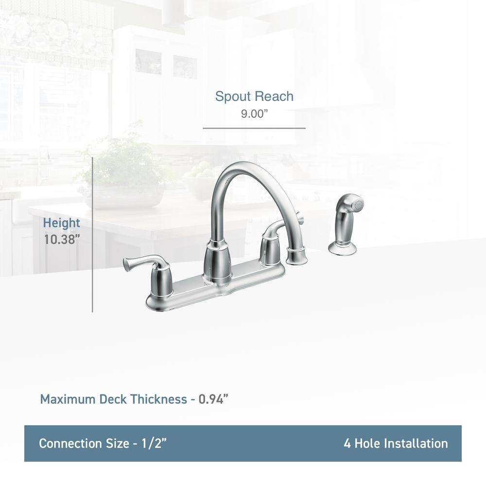 MOEN Banbury 2-Handle Mid-Arc Standard Kitchen Faucet with Side Sprayer in  Chrome