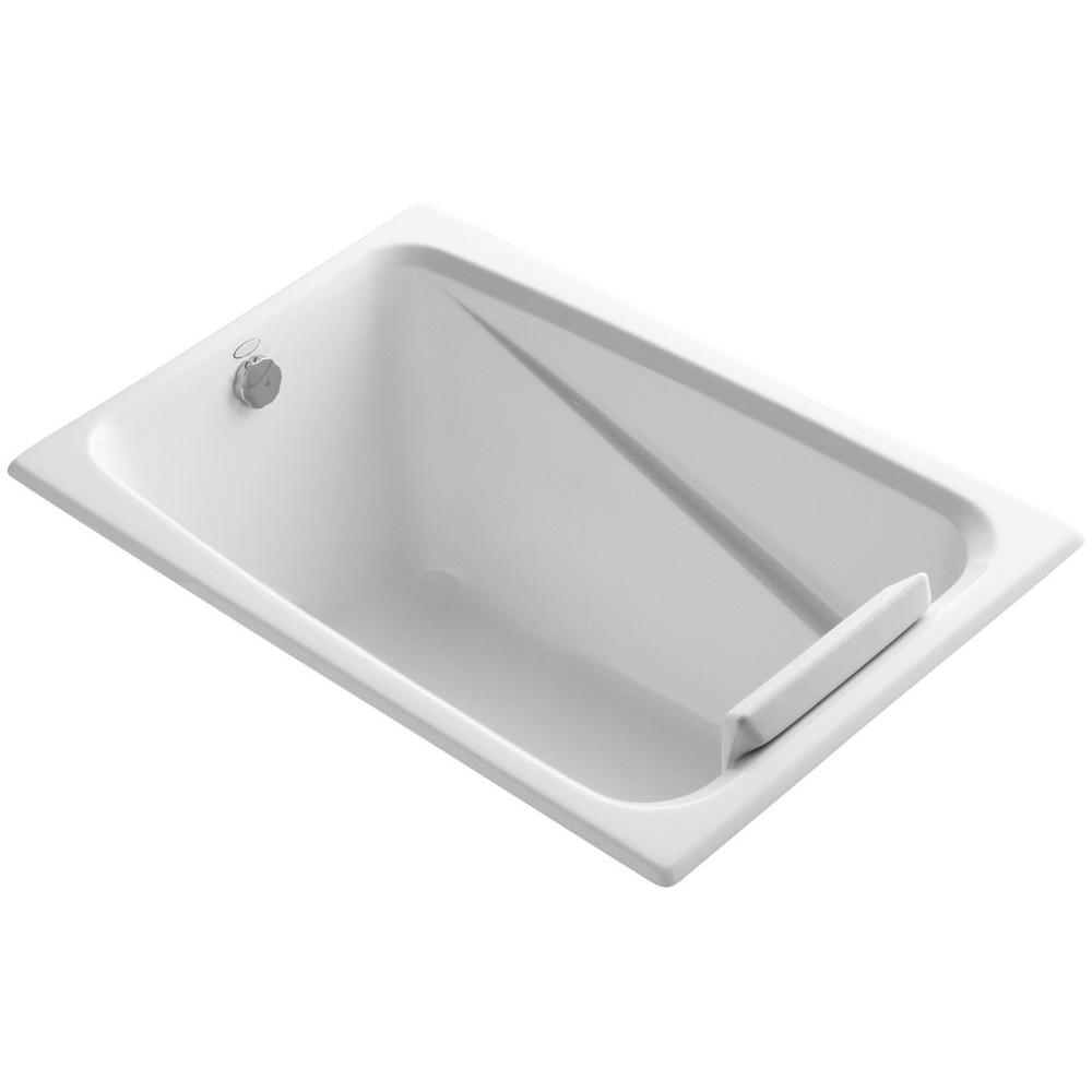 Kohler greek 4 ft reversible drain acrylic soaking tub in for Acrylic soaker tub