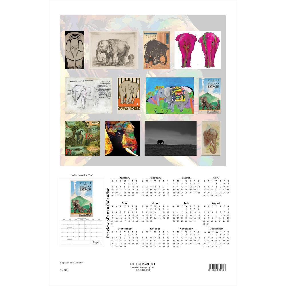 19 in. H x 12.5 in. W Elephants - 2019 Calendar