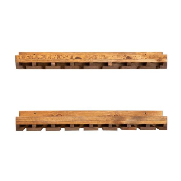 Rustic Luxe 36 in. W x 10 in. D Walnut Stemware Decorative Shelves (Set of 2)