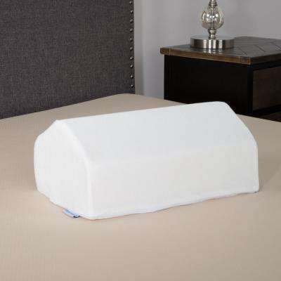 Elevating Knee Wedge Pillow with White Terry Cloth Zippered Cover