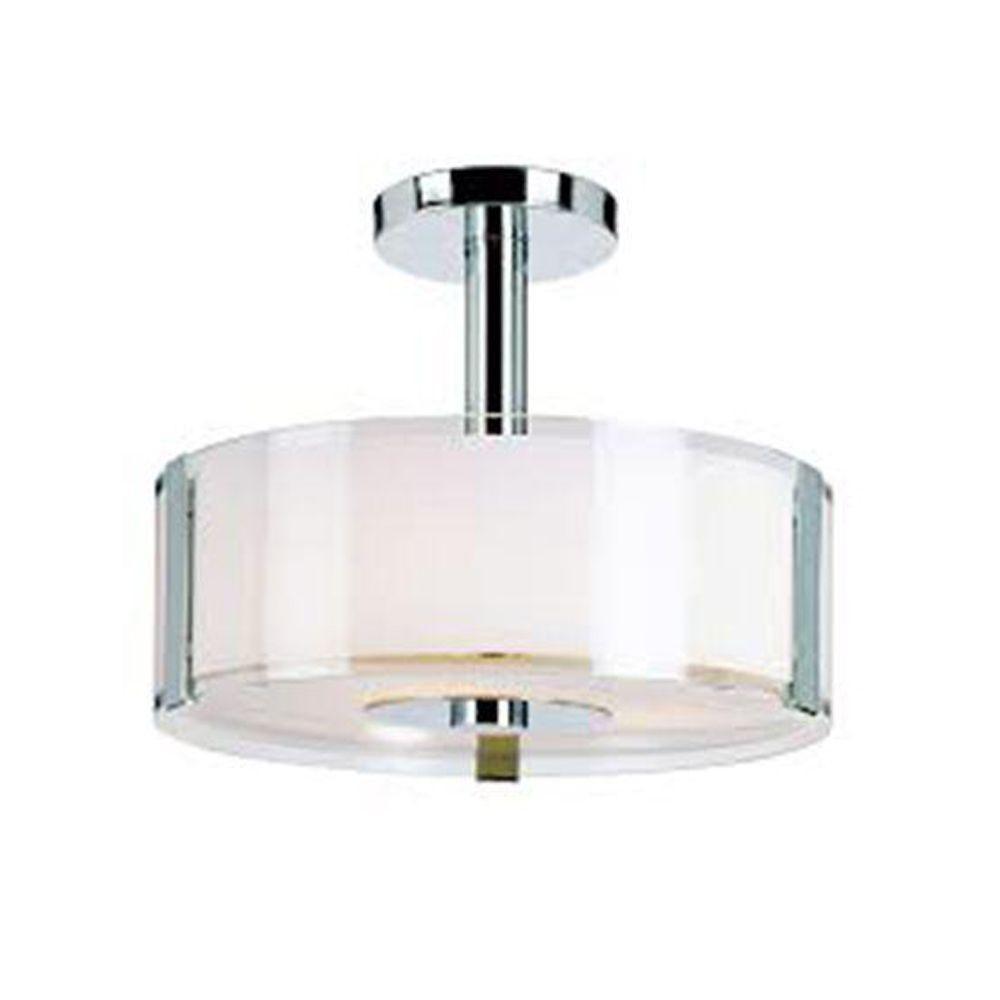 Stewart 3-Light Polished Chrome Incandescent Semi-Flush Mount Light