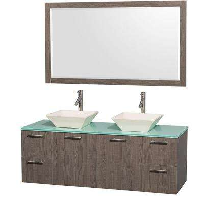 Amare 60 in. Double Vanity in Grey Oak with Glass Vanity Top in Aqua and Porcelain Sink