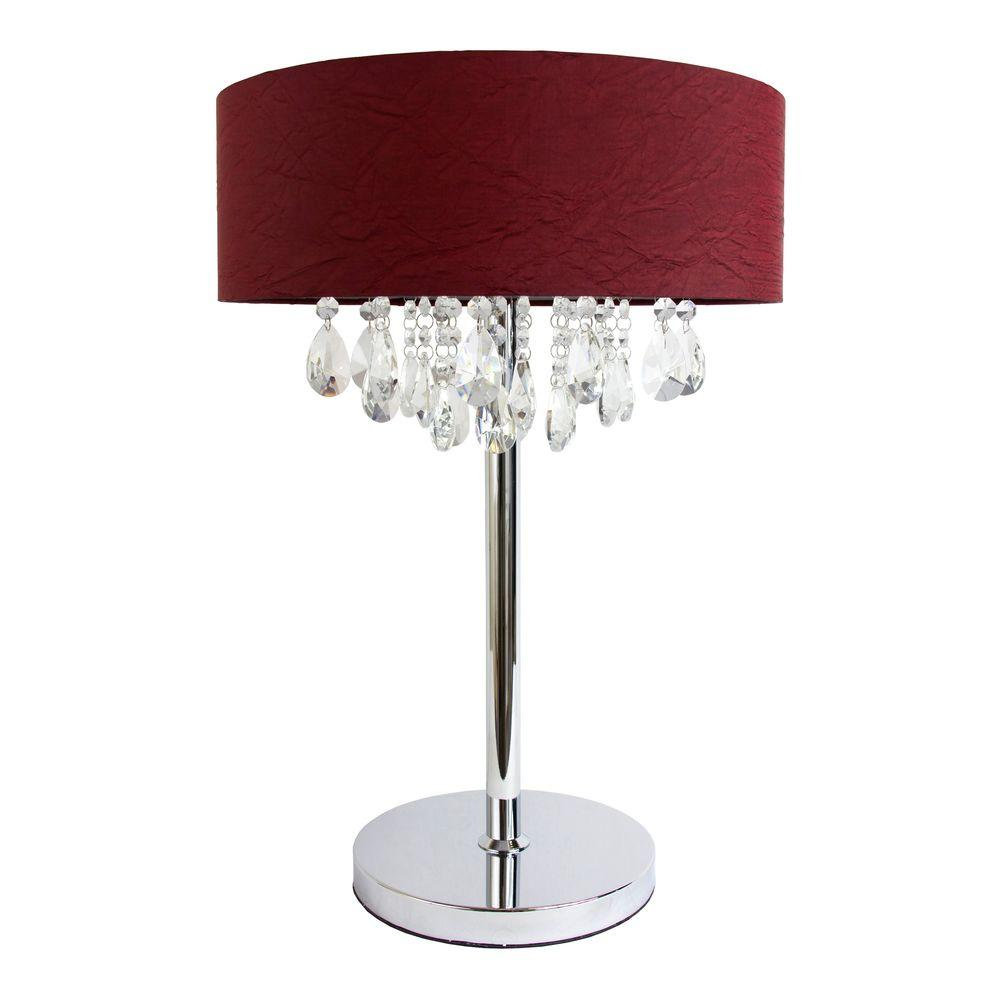 Romazzino Crystal Collection 22.25 in. Chrome Table Lamp with Red Ruched
