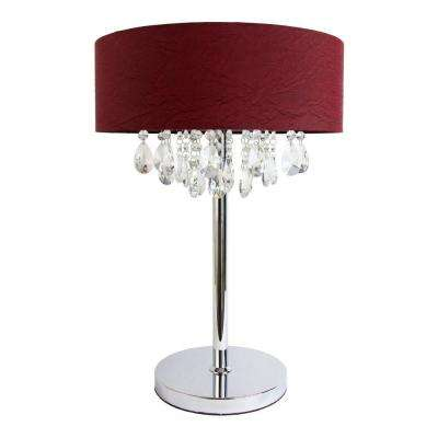 Romazzino Crystal Collection 22.25 in. Chrome Table Lamp with Red Ruched Fabric Drum Shade