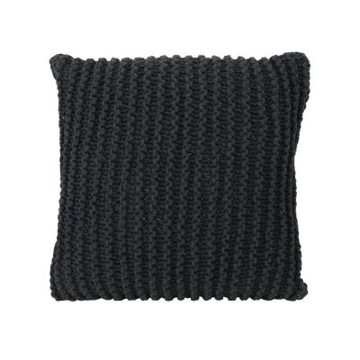 Farlie Dark Gray Solid Cotton 17.25 in. x 6 in. Throw Pillow