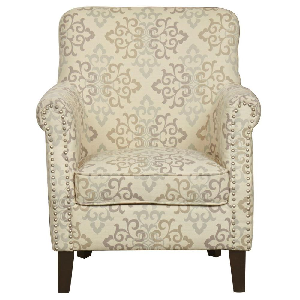 Worldwide Homefurnishings Pattern Fabric Accent Chair with Stud Detailing in Beige
