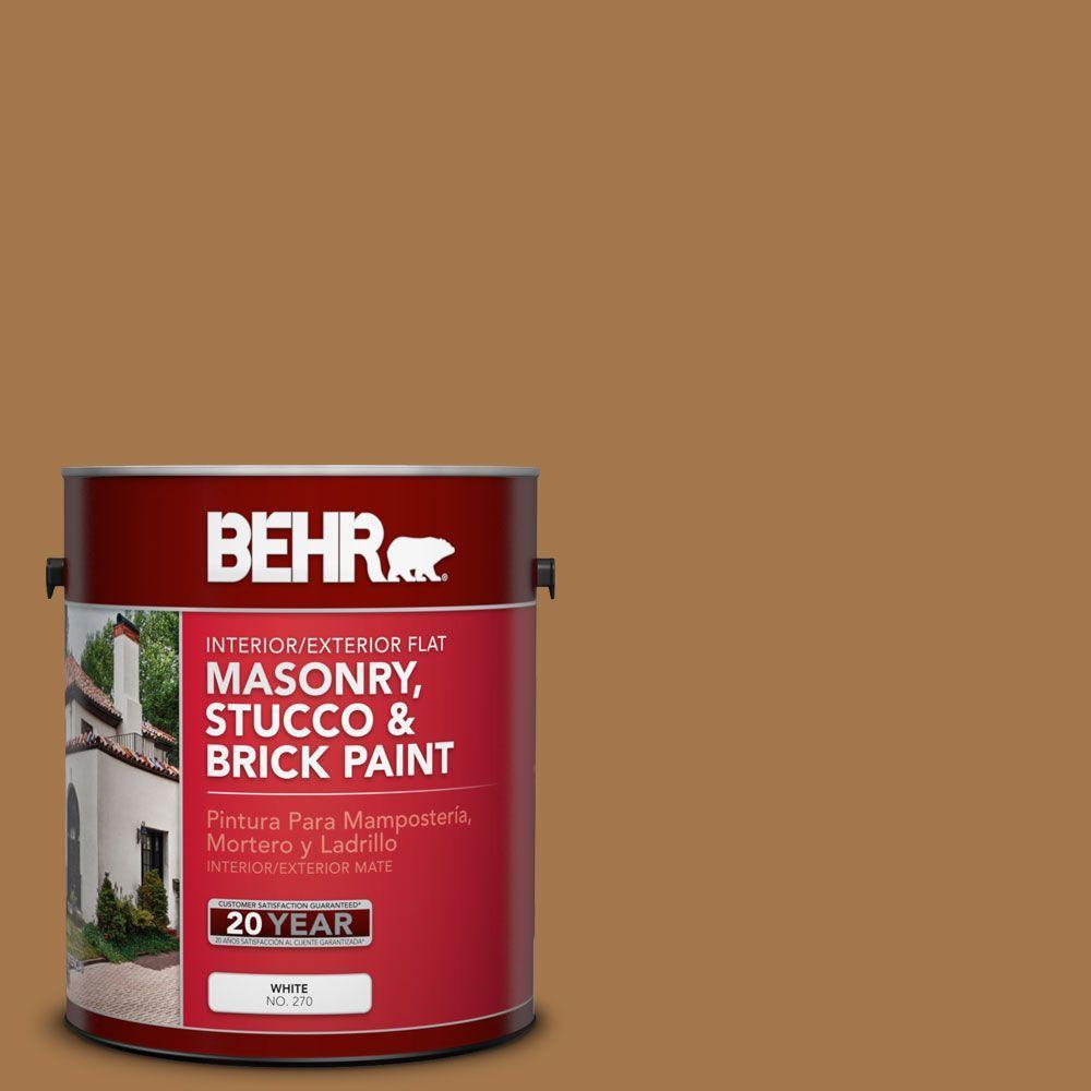 1 gal. #MS-38 Honey Amber Flat Interior/Exterior Masonry, Stucco and Brick
