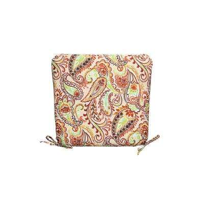 20 in. x 19 in. Outdoor Square Chair Cushion in Standard Chili Paisley