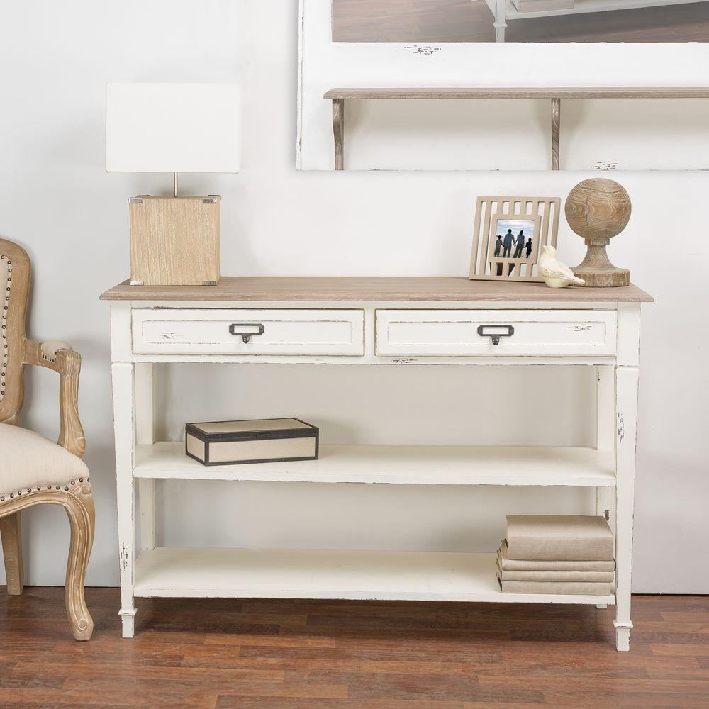 Baxton Studio Dauphine White And Light Brown Storage Console Table  28862 6027 HD   The Home Depot