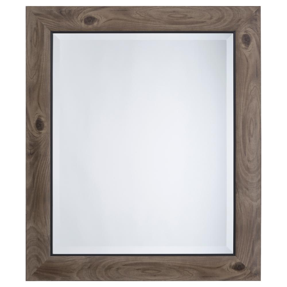 Yosemite Home Decor Mirror with Frame in Gray Wood with Black Trim ...