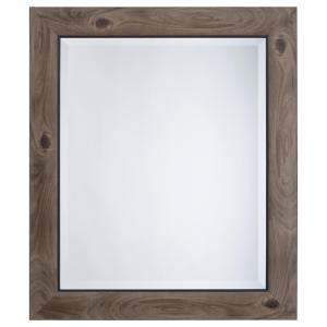 Mirror With Frame In Gray Wood Black Trim