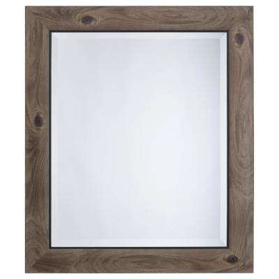 Mirror with Frame in Gray Wood with Black Trim