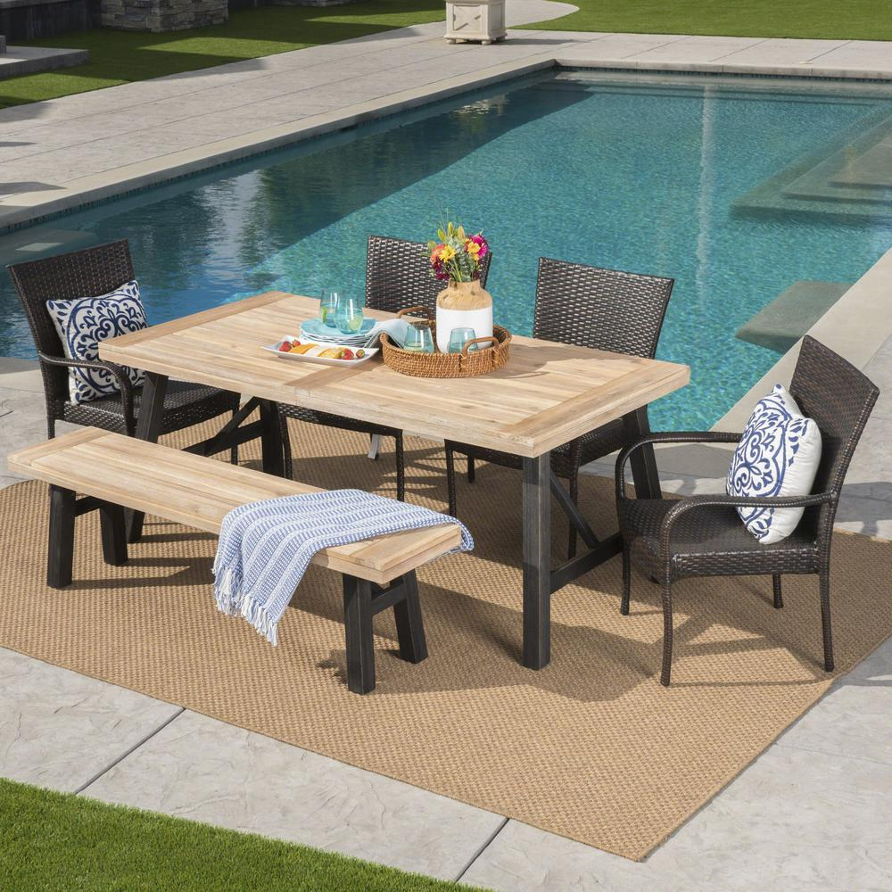 Outdoor Dining Bench: Noble House Multi-Brown Gray 6-Piece Wicker, Wood And Iron