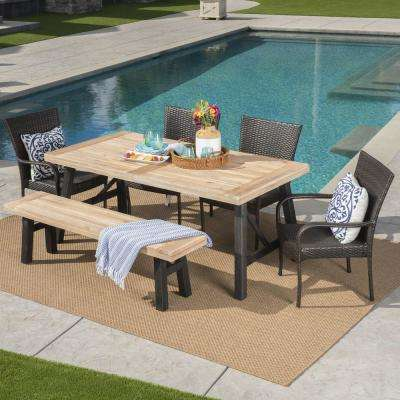 Multi-Brown Gray 6-Piece Wicker, Wood and Iron Rectangular Outdoor Dining Set with Beige Cushion