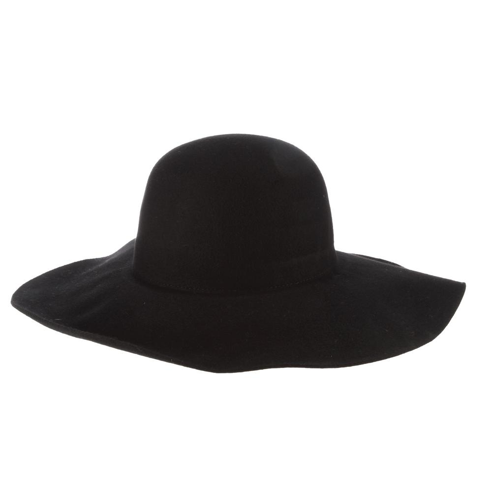 Scala 3-Big Brim Wool Felt Hat-LF41-BLK - The Home Depot 6b30def9f81