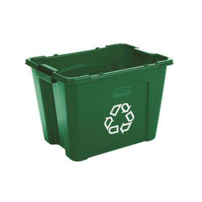Green Recycling Bin With Universal Recycle Symbol