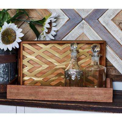 Stained Brown Decorative Trays with Crisscross Patterns (Set of 2)