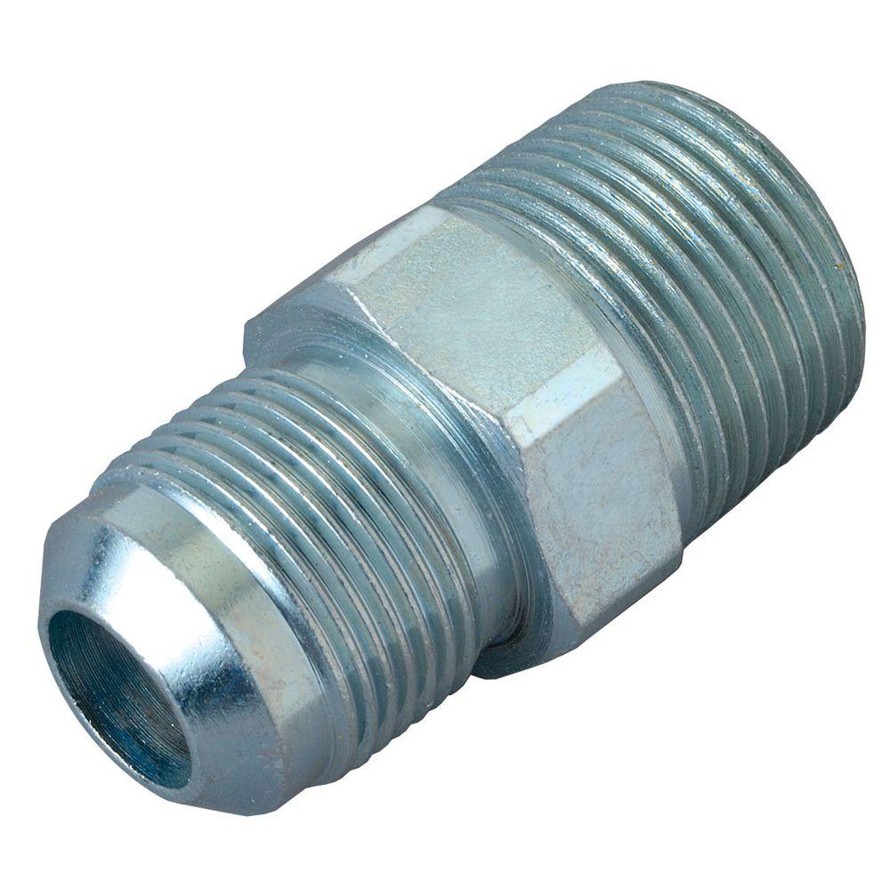 BrassCraft 1/2 in. O.D. Flare x 3/4 in. MIP (Tapped 1/2 in. FIP) Steel Gas Connector BrassCraft 1/2 in. O.D. Flare x 3/4 in. MIP (1/2 in. FIP tap) Steel Gas Fitting. Used to adapt the gas connector nut to appliance inlet or gas supply. The flared end of the fitting connects to the gas connector nut. The female end connects to the gas appliance inlet, gas ball valve or gas supply stub out. Fitting is used with 1/2 in. O.D. gas connectors (CSSD part no. prefix) for appliances with moderate BTU demands such as a standard 4 burner stove, water heater or cook top. Manufactured from steel and features a corrosion resistant coating.