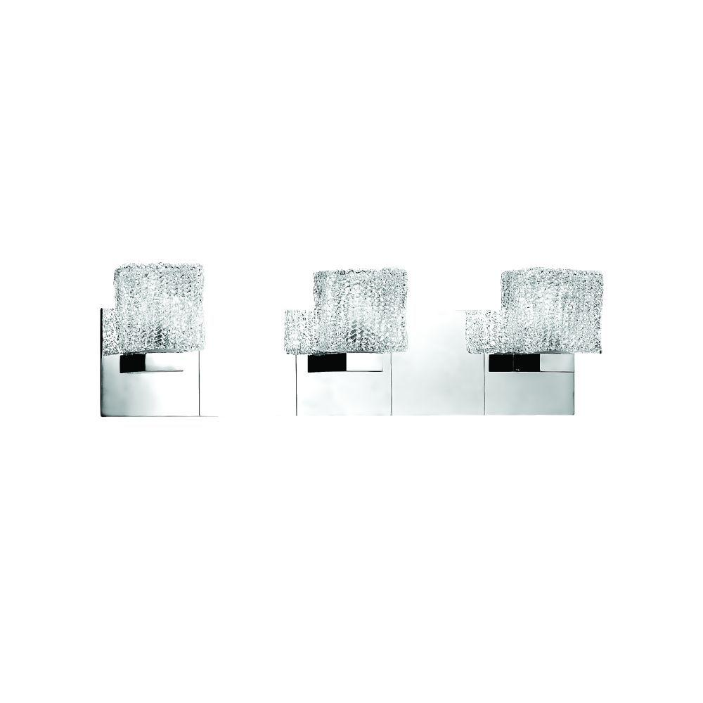 Eurofase Rain Collection 3-Light Chrome Wall Bath Bar Sconce