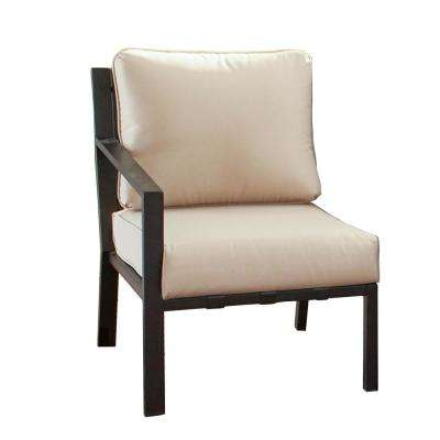 Metal Outdoor Right-Arm Lounge Chair with Beige Cushion