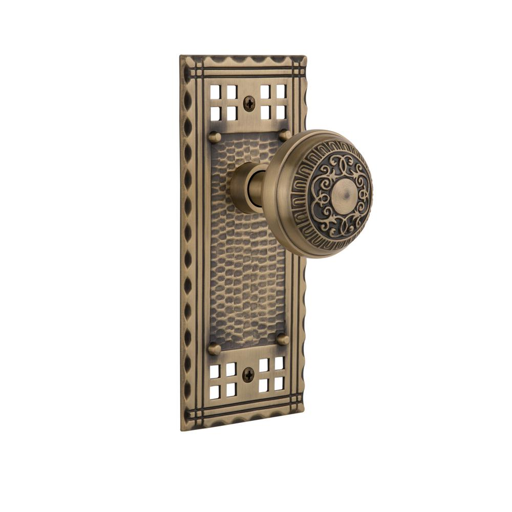 Nostalgic Warehouse Craftsman Plate Double Dummy Egg And Dart Door Knob In Antique Brass 715490 The Home Depot