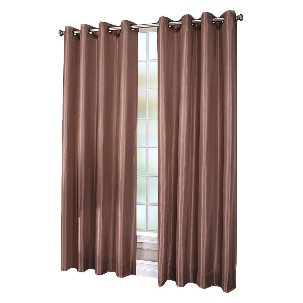 Semi-Opaque Chloe Beige Lined Faux Silk Grommet Curtain Panel, 84 in. Length
