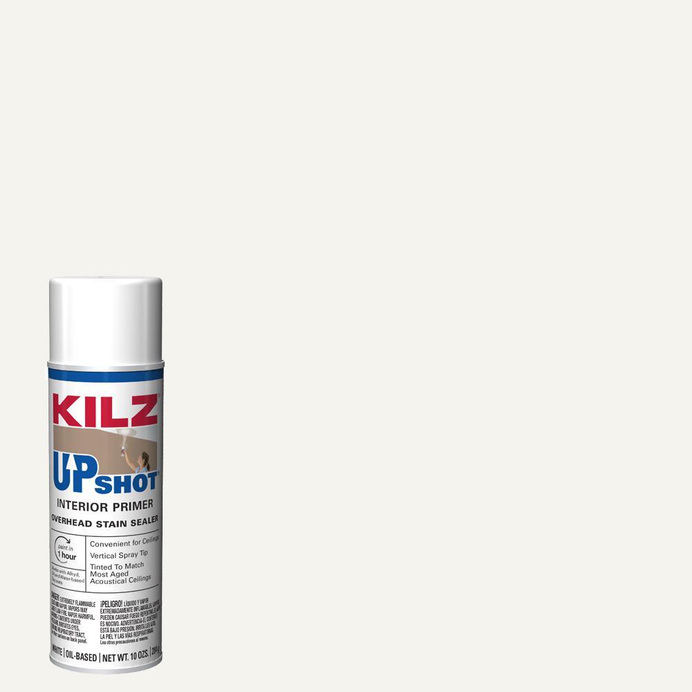 KILZ Upshot 10 oz  White Overhead Oil-Based Interior Primer Spray Stain  Sealer and Stain Blocker