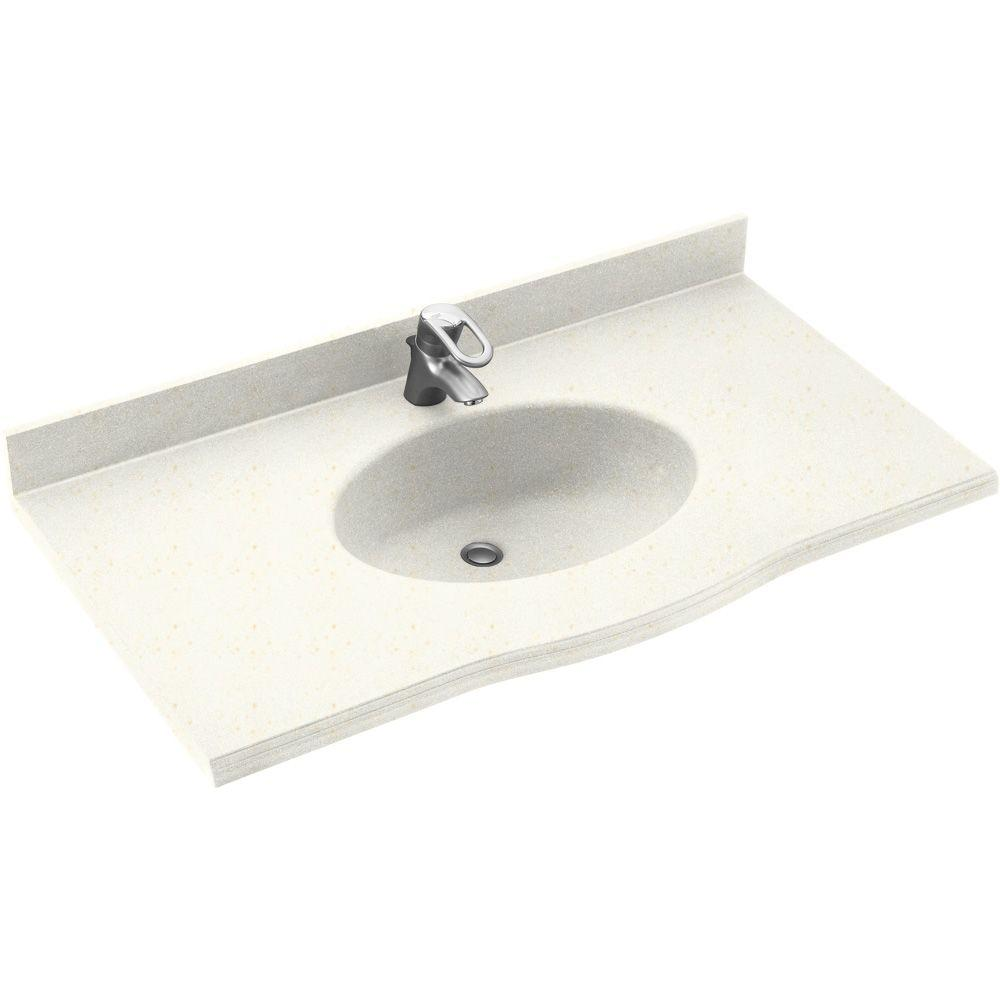 Swanstone Europa 43 in. Solid Surface Vanity Top with Basin in Baby's Breath-DISCONTINUED