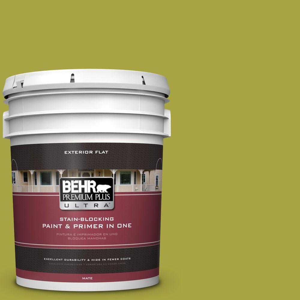 BEHR Premium Plus Ultra 5-gal. #400B-7 Lemon Grass Flat Exterior Paint