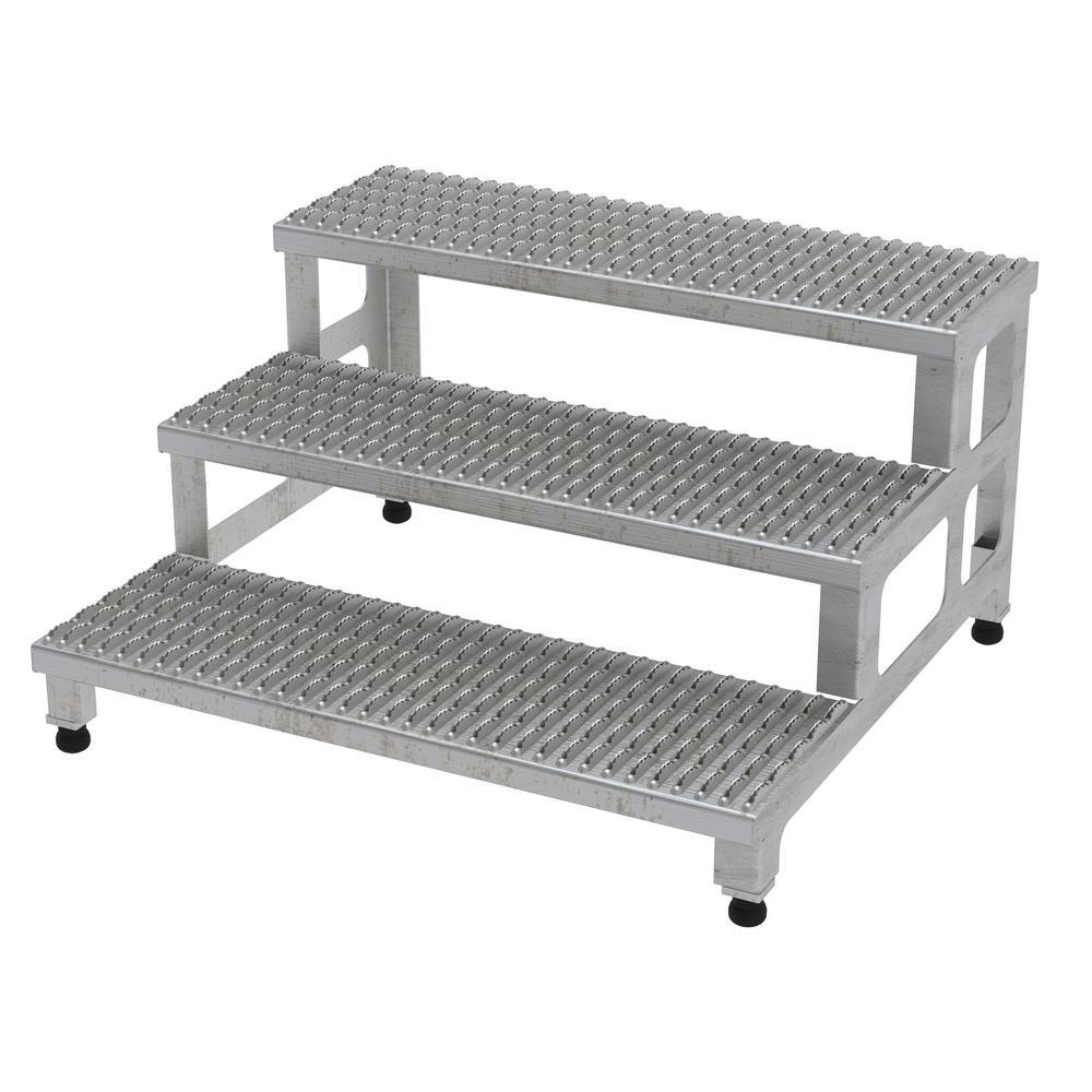 Vestil 36 inch x 34 inch 3 Step Adjustable Stainless Steel Step Mate Stand by Vestil