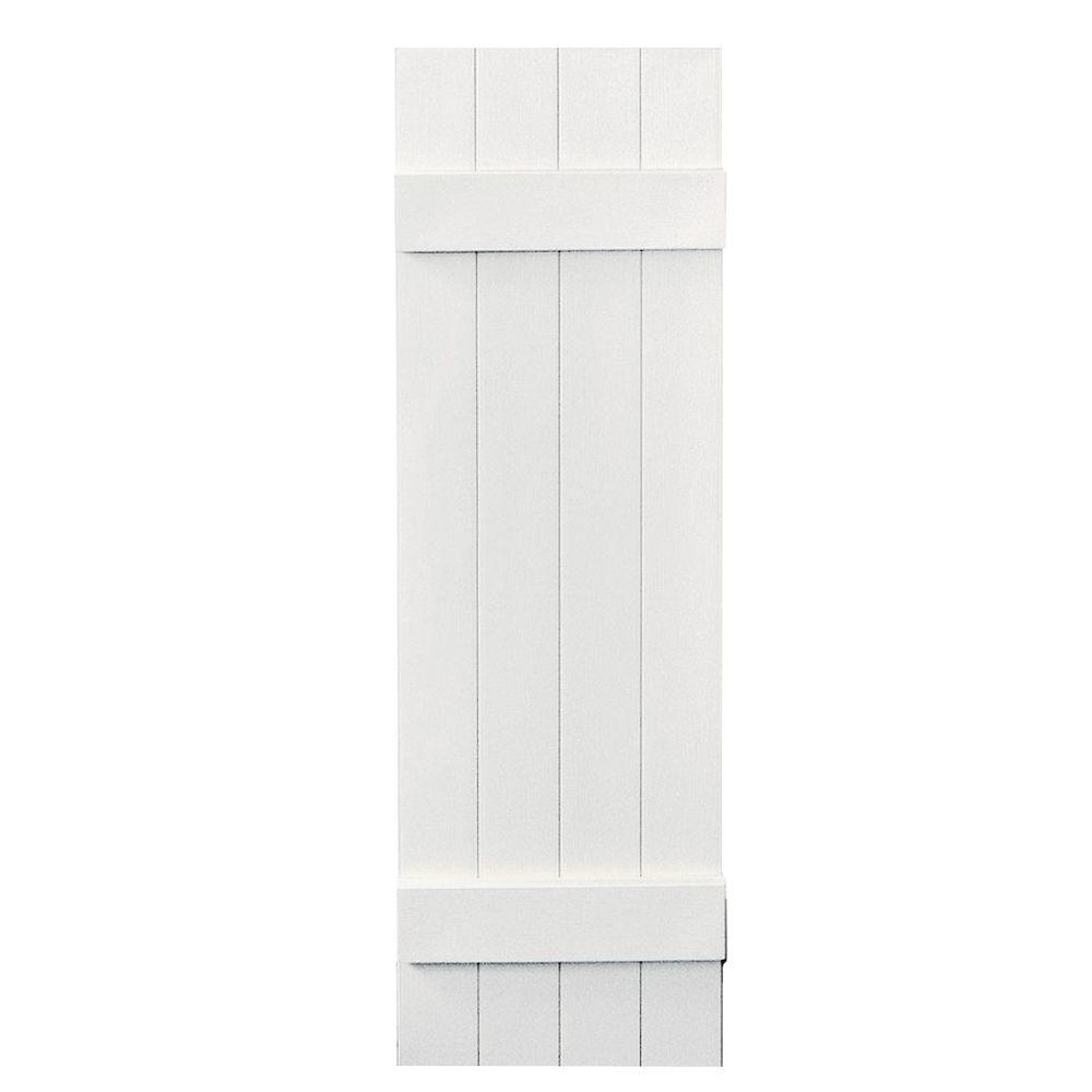 14 in. x 47 in. Board-N-Batten Shutters Pair, 4 Boards Joined