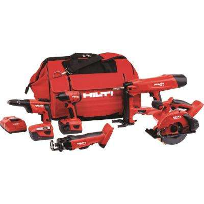22-Volt Lithium-Ion (5 Tool) Cordless Cut-Out Tool/Drywall Screw Gun/Impact Driver/Fastener/Circular Saw Combo Kit