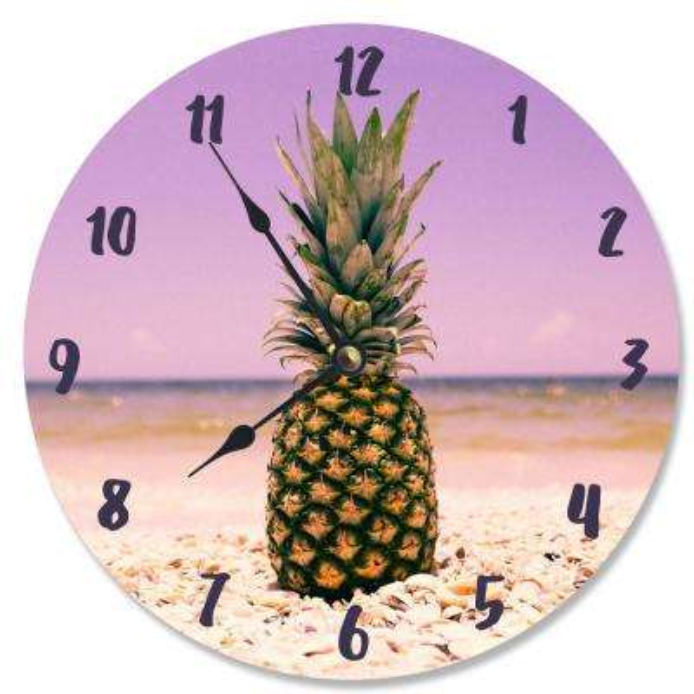 """Pineapple on the Beach"" by Daphne Polselli Wall Clock"