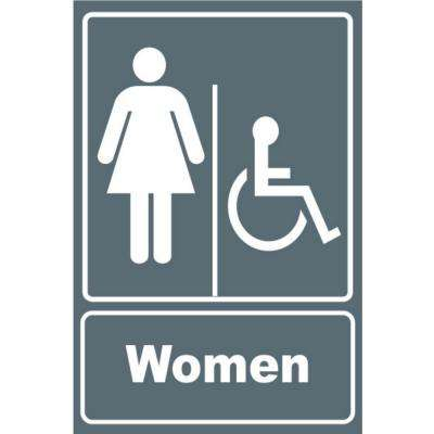 5.5 in. x 6.5 in. Plastic Grey Women Wheelchair Restroom Sign