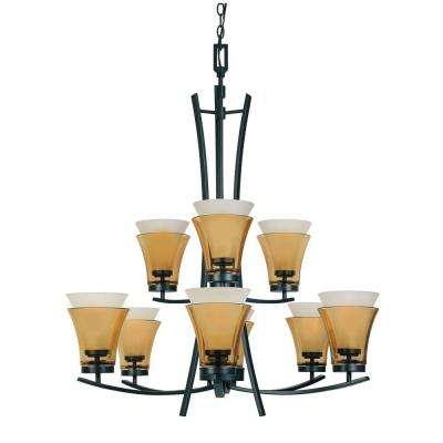 Majorca 9-Light Oil Rubbed Bronze Chandelier with Clear Champagne and Frosted White Glass Shades