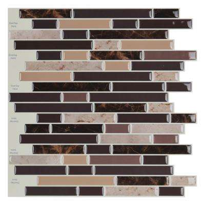 Strip Brown 12 in. x 12 in. Vinly Peel and Stick Backsplash Tiles 9.8 sq. ft./pack