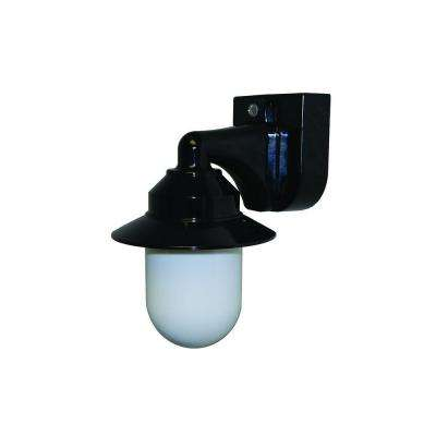 1-Light Black Outdoor Incandescent Short Neck Wall Bracket Fixture with Dusk/Dawn Sensor