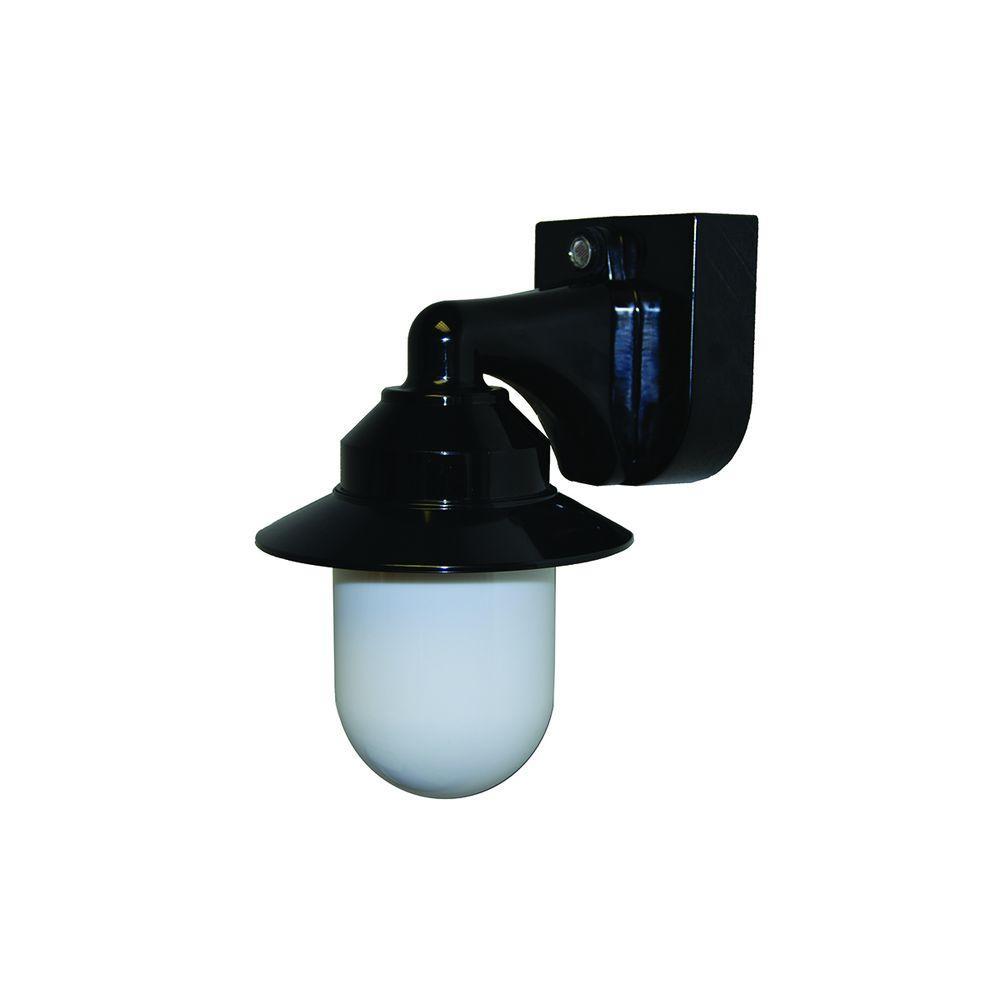 1-Light Black Outdoor Incandescent Short Neck Wall Bracket Fixture with Dusk/Dawn Sensor