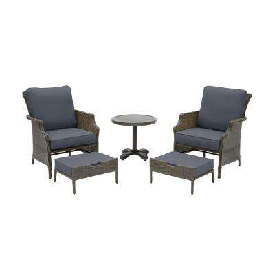 Grayson 5-Piece Ash Gray Wicker Outdoor Patio Small Space Seating Set with CushionGuard Sky Blue Cushions