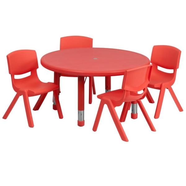 Carnegy Avenue Red 5 Piece Table and Chair Set CGA-YU-9265-RE-HD
