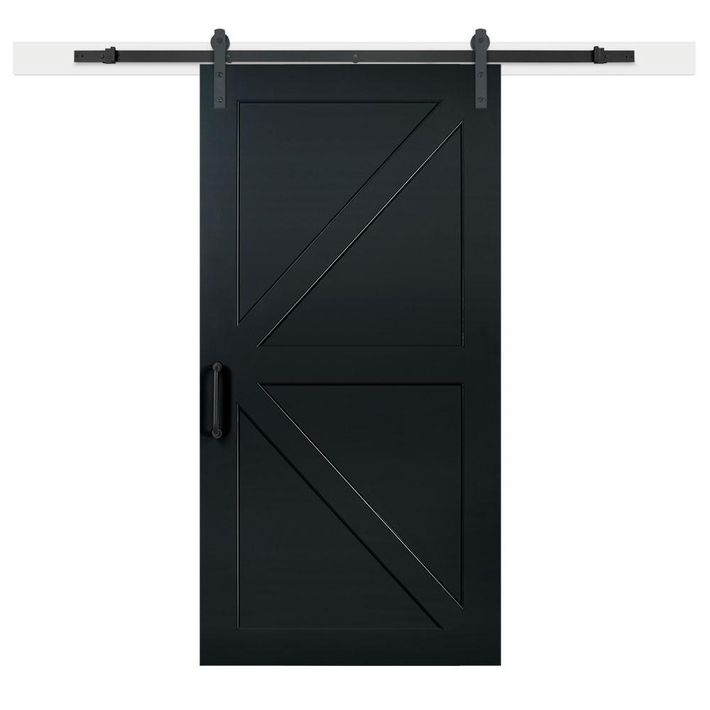 42 in. x 84 in. Knight Composite K-Bar Solid-Core MDF Barn Door with Sliding Door Hardware Kit