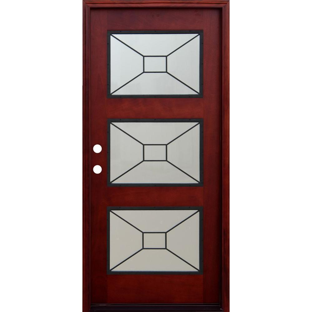 Pacific Entries 36 in. x 80 in. Contemporary 3 Lite Mistlite Stained Mahogany Wood Prehung Front Door with Grille and 6 in. Wall Series