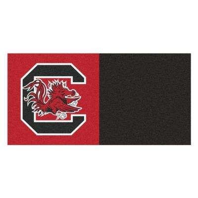 NCAA - University of South Carolina Red and Black Pattern 18 in. x 18 in. Carpet Tile (20 Tiles/Case)